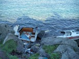 Boat wreckage on northern shore of Lesvos