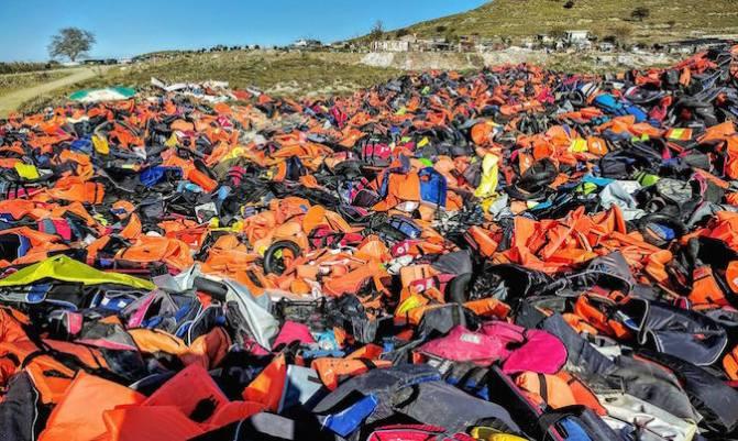 Lifejacket graveyard on Lesvos. Josh Webb volunteer interview.