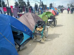 The juxtaposition here seems horrific, as the elderly and disabled are forced to sleep on the ground
