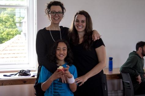 Kristina with Nga Rangatahi Toa founder and creative director Sarah Longbottom, and Daimai.